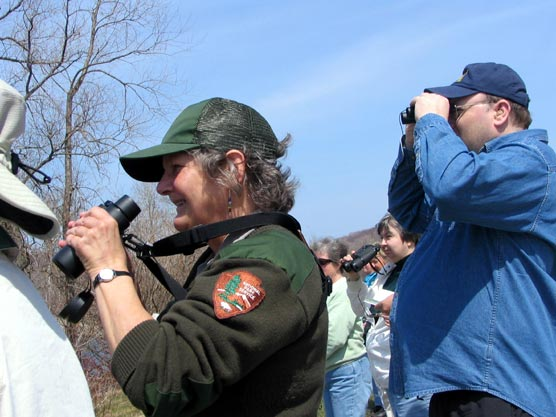 National Park Service Ranger Peg Burman and visitors spot migratory birds near the dunes.