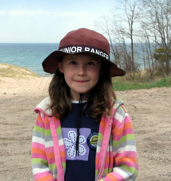 Junior Ranger Mackenzie Huffman, Traverse City, at Sleeping Bear Dunes National Lakeshore.