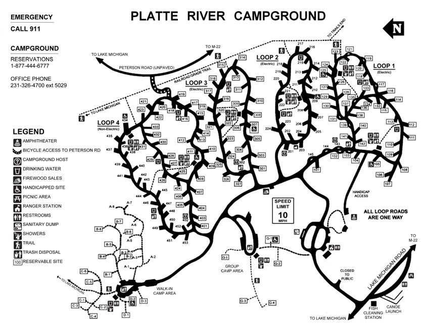 Map of the roads, campsites, and facilities in the Platte River Campground