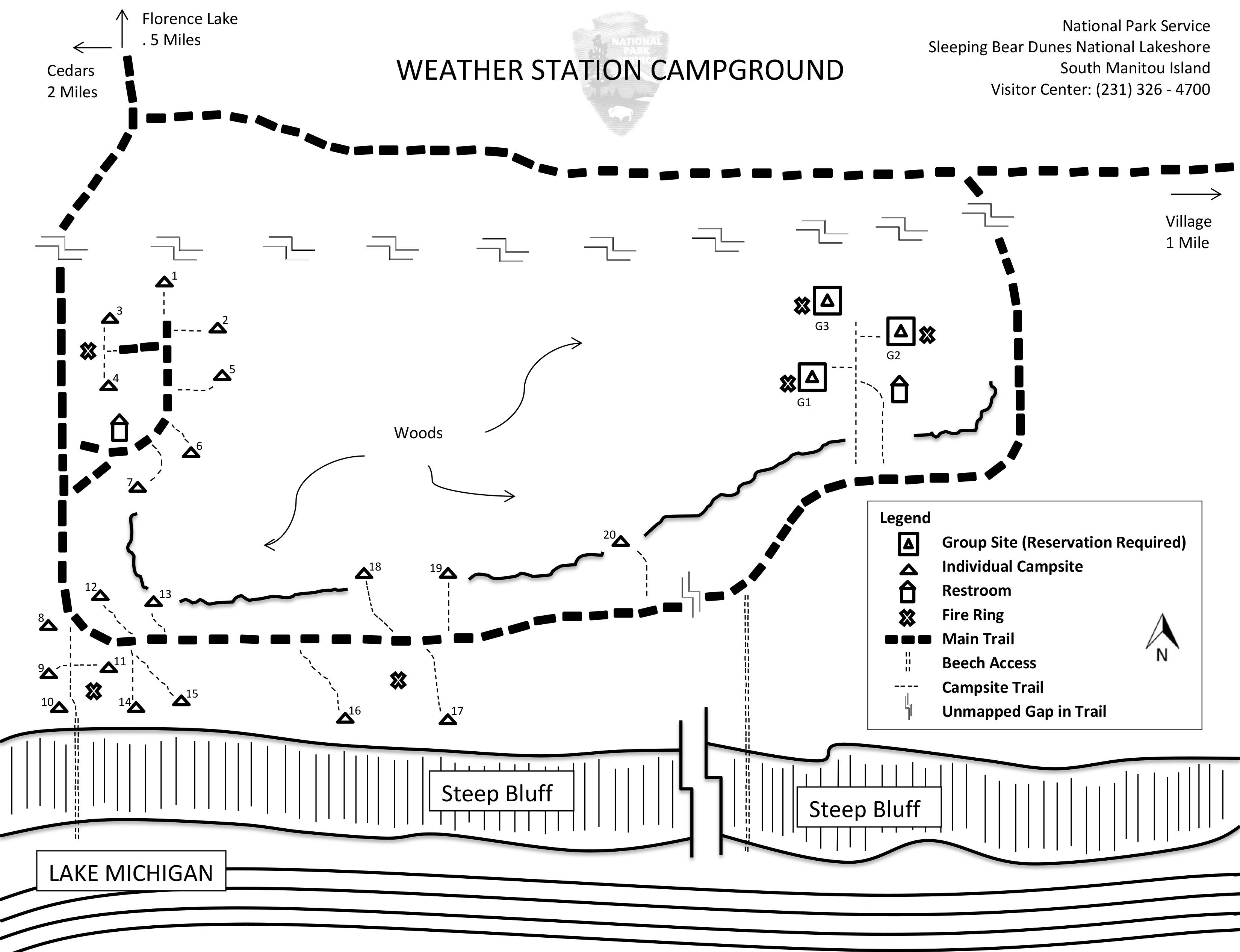 Map of Weather Station campground