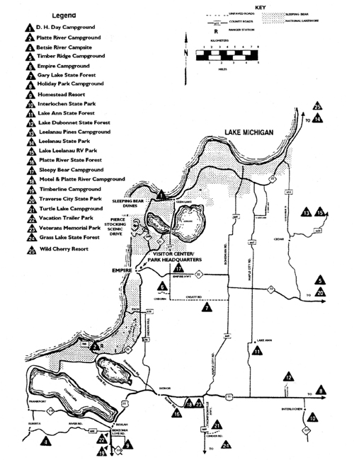 Map of Campgrounds in the Area
