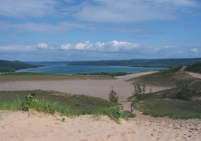 This view of Glen Lake is from the Dune Climb at Sleeping Bear Dunes National Lakeshore.
