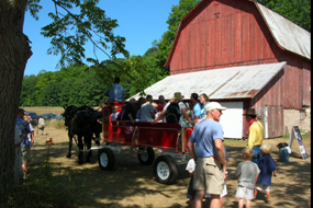 Horse-drawn wagon ride at the Port Oneida Fair