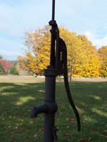 Water hand pump at Port Oneida School
