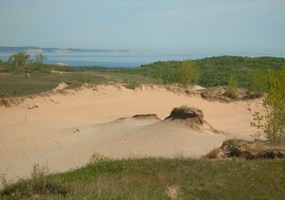 Dunes with South Manitou Island in background