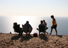 Relaxing at the Lake Michigan Overlook