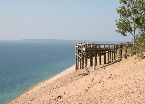Lake MI Overlook Platform with South Manitou Island in the background