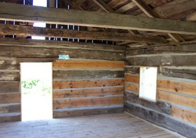 Inside the Shalda Log Cabin