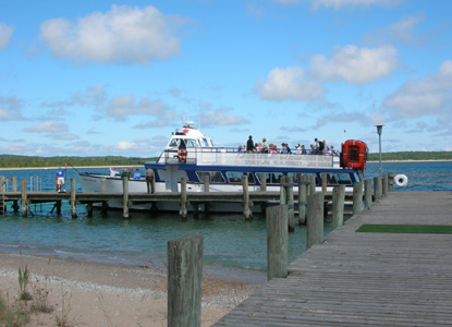 Ferry taking visitors to South Manitou Island