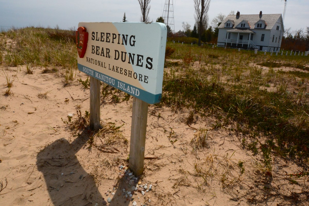 Sleeping Bear Dunes sign on South Manitou Island