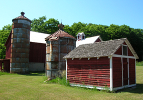 Barn, silos, and granary at the Tweddle Farm
