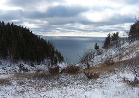Winter view of Lake Michigan from the bluffs