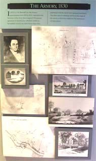 Displayed are images of Superintendent Roswell Lee, early buildings, and maps.