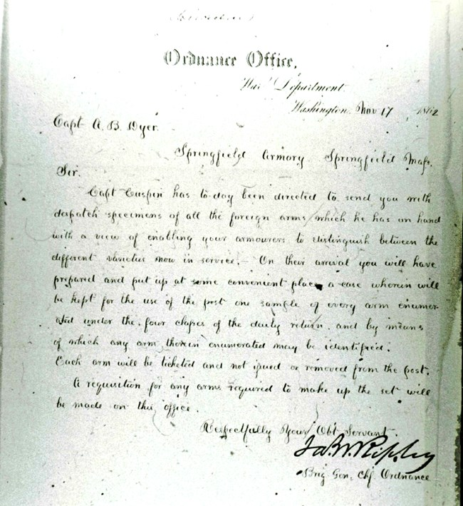 Order establishing the collection, November 17th, 1862