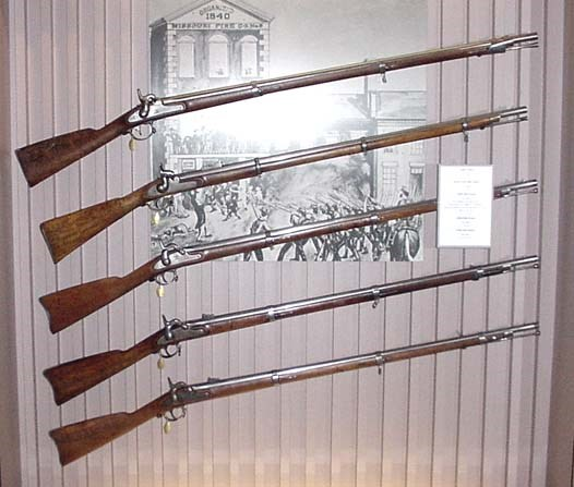 Decorated Civil War soldiers' muskets