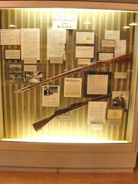 This case includes US M1903 rifle #1 and a Civil War Enfield rifle musket