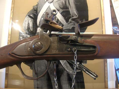 close-up of the flintlock