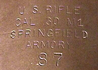 Receiver stampings of US M1 Rifle sn87