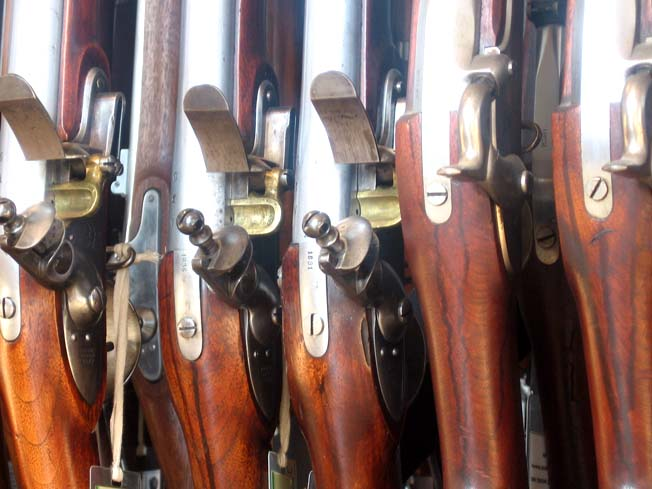close-up of the M1816 and M1861 muskets