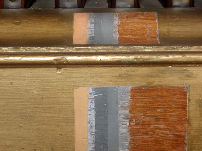 Layers of paint on the Organ of Muskets rack