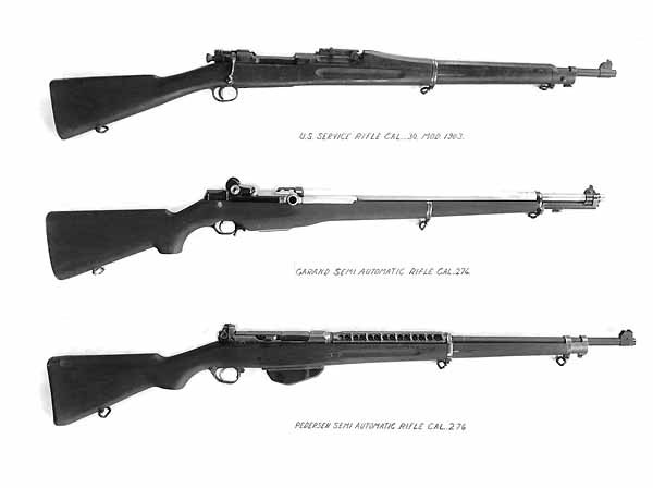 Pedersen T1 rifle at bottom