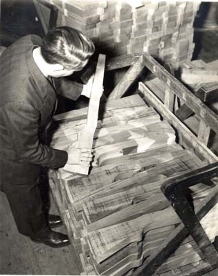 inspecting stock blanks WWII