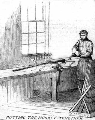 Assembling a musket at Springfield Armory