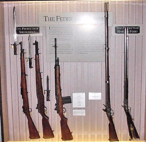 displaying Springfield Armory weapons from 1903 to 1968 and then the first Harpers Ferry Armory flintlock weapons