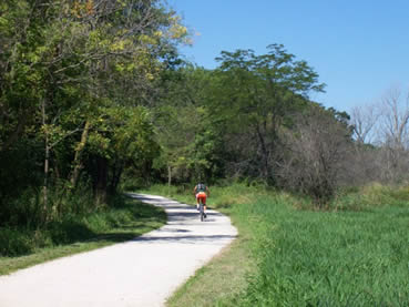 Biking the trail at Waterfall Glen Forest Preserve