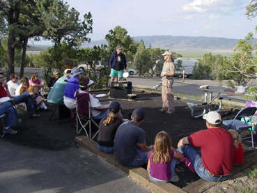 Visitors enjoy a geology program at Smoky Mountain Campground.