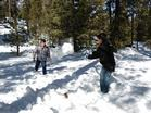 Winchester Cultural Center families play in the snow, one of the Nevada Children's Outdoor Bill of Rights activities.