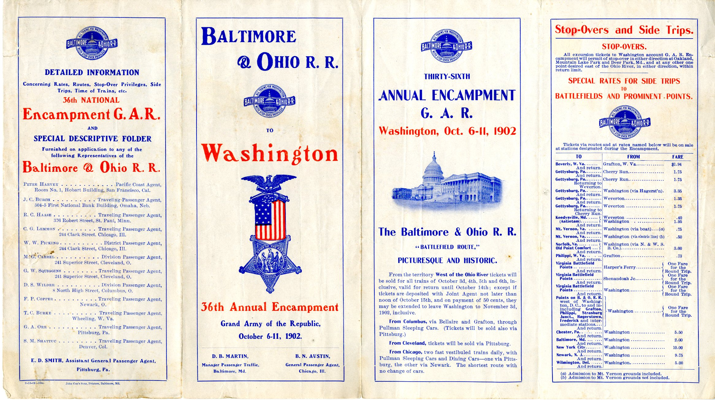 Image of a 1902 Baltimore & Ohio Railroad timetable for a GAR special in the museum collection (STEA 3103)