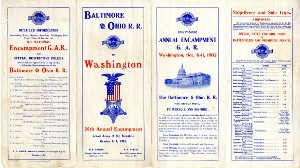 1902 B&O Railroad timetable for a GAR encampment at Washington, DC on white paper with blue and red print