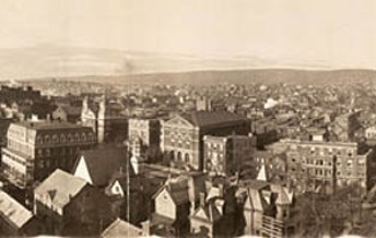 Panorama of downtown Scranton, nestled in the Lackawanna Valley, c.1909