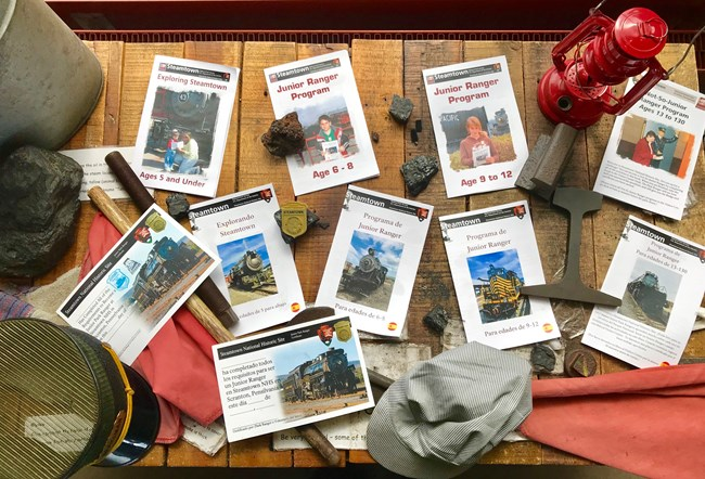 photo of every Junior Ranger book Steamtown has to offer