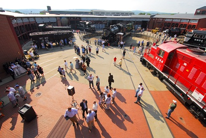 Scene overlooking Steamtown NHS turntable during Railfest 2012