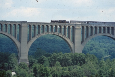 Steamtown NHS' Canadian National #3254 locomotive on the historic Tunkhannock Viaduct, Nicholson, PA.
