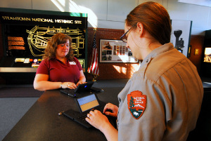 Park ranger assisting visitor at Steamtown NHS