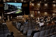 Visitors enjoy a presentation in the Steamtown theater.