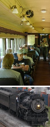 Top:  Interior view of a coach with a park ranger giving a program. Bottom:  Steam locomotive pullng a short train ride.