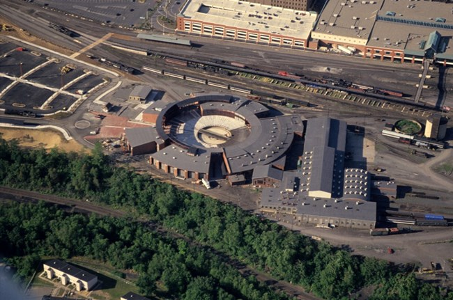 Aerial image of Steamtown National Historic Site