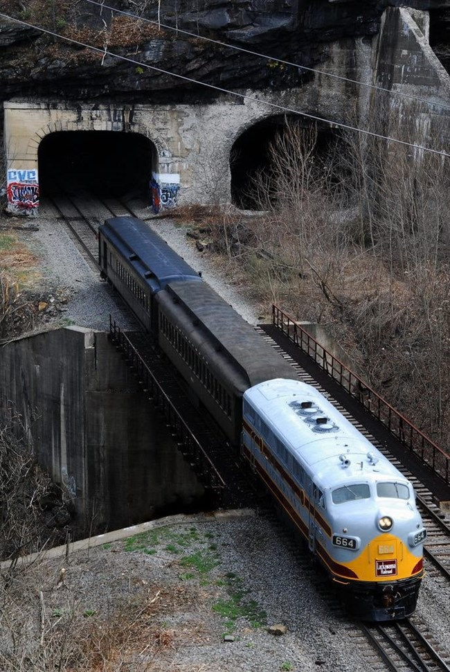 Train near the Nay Aug Tunnel