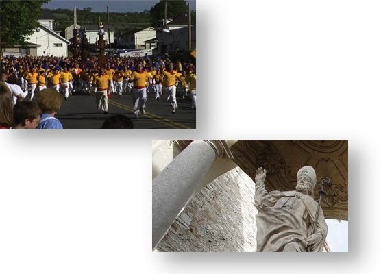 Upper Left:  The race of the saints from Jessup.  Lower Right:  Statue of Saint Ubaldo.