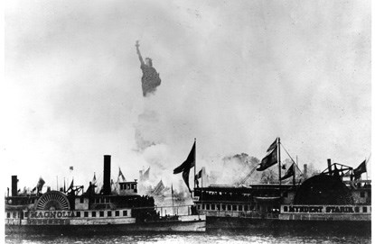 Lady Liberty amid the flotilla of boats on Oct. 28, 1886