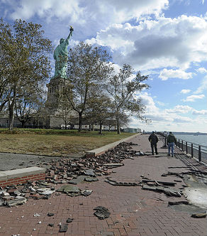 The walkway after Hurricane Sandy.