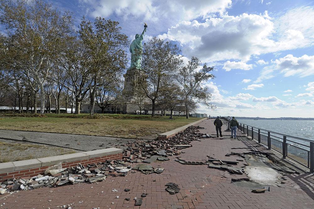 Statue of liberty hurricane sandy damage