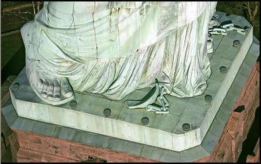 Statue of Liberty's feet and broken chains