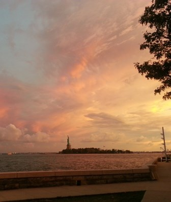 Sunset of Statue of Liberty at Ellis Island