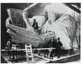 Lady Liberty's tablet hand under construction