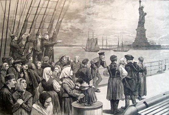 An illustration of immigrants on the steerage deck of an ocean steamer passing the Statue of Liberty from Frank Leslie's Illustrated Newspaper, July 2, 1887.